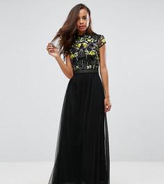 Платье макси с отделкой на лифе и воротником в восточном стиле Frock And Frill Petite - Черный