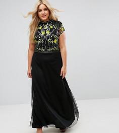 Платье макси с воротником-стойкой Frock And Frill Plus - Черный