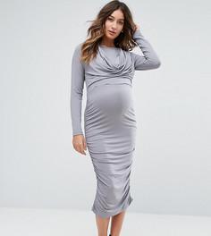 Платье со свободным воротом для кормящих мам ASOS Maternity NURSING - Серый