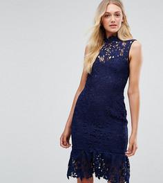 Кружевное платье с высоким воротом и оборкой Paper Dolls Tall - Темно-синий