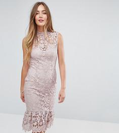 Кружевное платье с высоким воротом и оборкой Paper Dolls Tall - Розовый
