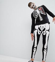 Пижама с принтом скелета ASOS Halloween - Черный