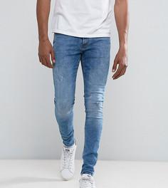 Синие выбеленные супероблегающие джинсы с рваной отделкой Blend Lunar - Синий
