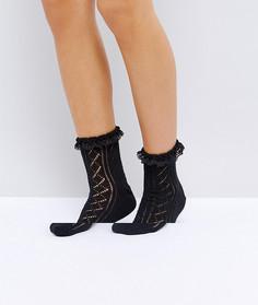 Кружевные носки с оборкой ASOS - Черный