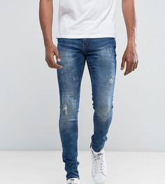 Выбеленные рваные супероблегающие джинсы Blend Lunar - Синий