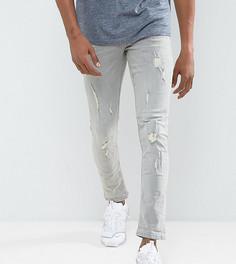 Светло-серые зауженные джинсы с рваной отделкой Blend Cirrus - Серый