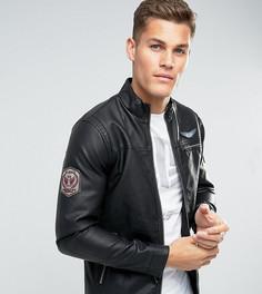 Куртка из искусственной кожи с нашивками Blend - Черный