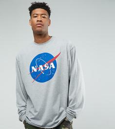 Оверсайз-футболка с рукавами летучая мышь ASOS TALL NASA - Серый