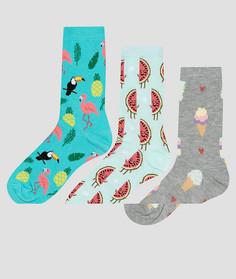 3 пары носков с арбузами и мороженым New Look - Зеленый