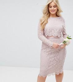 Кружевное платье-футляр миди с длинными рукавами ASOS CURVE WEDDING - Розовый