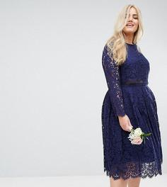 Кружевное платье миди для выпускного с длинными рукавами ASOS CURVE WEDDING - Темно-синий