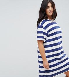 Платье-футболка в полоску с отворотами на рукавах ASOS CURVE Ultimate - Мульти