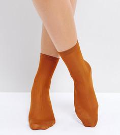Носки металлик в рубчик Monki - Оранжевый