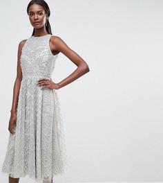 Приталенное платье миди с декоративной отделкой A Star Is Born - Серебряный