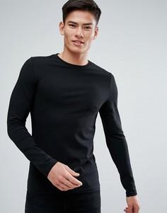 Обтягивающая футболка с длинными рукавами Burton Menswear - Черный