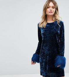 Платье мини из мятого бархата с искусственным мехом на манжетах Anna Sui - Темно-синий