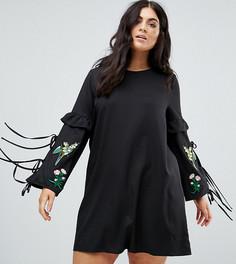 Платье с вышивкой и кисточками Boohoo Plus - Черный