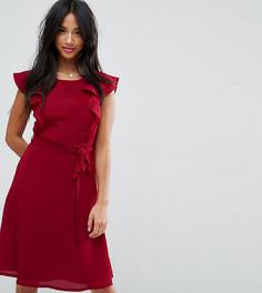 Чайное платье миди с оборками на рукавах Yumi Petite - Красный
