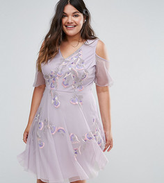 Короткое приталенное платье с отделкой и открытыми плечами Frock And Frill Plus - Фиолетовый