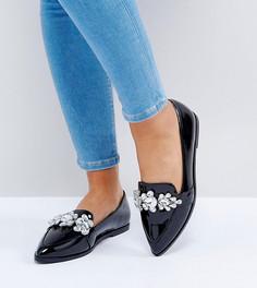 Декорированные туфли на плоской подошве для широкой стопы ASOS MANILLA - Черный