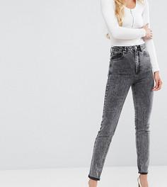 Черные узкие рваные джинсы в винтажном стиле с завышенной талией и эффектом кислотной стирки ASOS TALL FARLEIGH - Черный