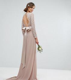 Кружевное платье макси с бантом на спине TFNC Tall WEDDING - Розовый
