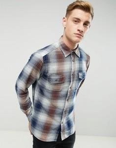 Хлопковая рубашка классического кроя в клетку Esprit - Темно-синий