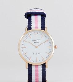 Часы с парусиновым ремешком в полоску (розовый/синий) Reclaimed Vintage Inspired 36 мм эксклюзивно для ASOS - Розовый