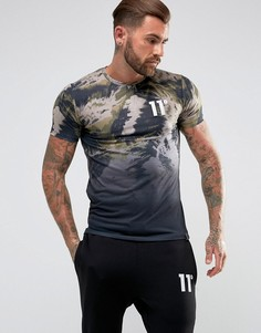 Черная футболка с выцветшим камуфляжным принтом 11 Degrees - Черный