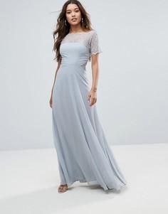 Платье макси с кружевными вставками ASOS - Серый