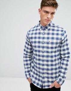 Темно-синяя оксфордская рубашка узкого кроя в решетчатую клетку Hollister - Темно-синий
