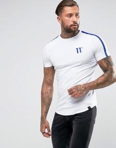 Белая футболка с синими светоотражающими полосками 11 Degrees - Белый