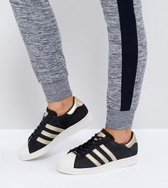 Черные кроссовки в стиле 80-х с золотистой отделкой adidas Originals Superstar - Черный