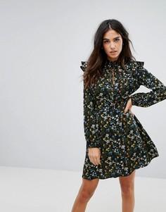 Платье с завязкой и оборками Influence - Черный