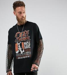 Оверсайз-футболка с кружевными длинными рукавами и принтом Ozzy Reclaimed Vintage Inspired - Черный