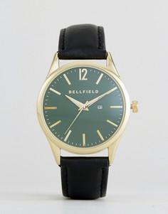 Часы с зеленым циферблатом и черным ремешком Bellfield - Серый