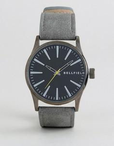 Часы с черным циферблатом и серым ремешком Bellfield - Черный