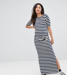 Платье макси в полоску с разрезом сбоку Bluebelle Maternity - Мульти