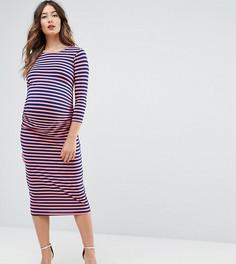Облегающее платье в полоску с рукавами 3/4 Bluebelle Maternity - Мульти