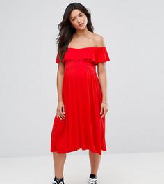 Платье миди с открытыми плечами Bluebelle Maternity - Красный