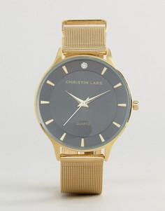 Золотистые часы с черным циферблатом Christin Lars - Золотой