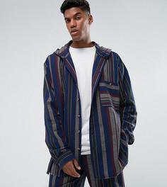 Свободная рубашка в полоску с капюшоном Reclaimed Vintage Inspired - Синий