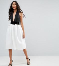 Черно-белое платье миди для выпускного с ремнем ASOS TALL - Мульти