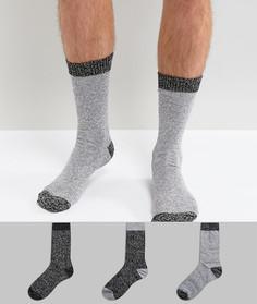 3 пары толстых носков с контрастной вставкой на носке и пятке ASOS - Мульти