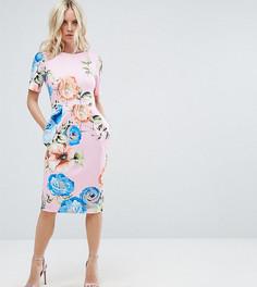 Платье-футляр миди с цветочным принтом ASOS PETITE - Мульти