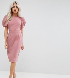 Платье-футляр миди с длинными рукавами ASOS PETITE - Розовый