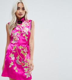 Атласное платье мини с восточным принтом ASOS PETITE - Розовый