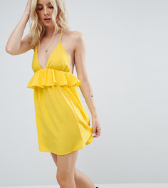 Пляжный сарафан с халтером и оборками ASOS PETITE - Желтый