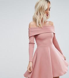 Короткое приталенное платье в рубчик с открытыми плечами ASOS PETITE PREMIUM - Розовый