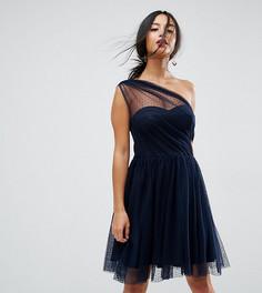 Сетчатое платье мини для выпускного на одно плечо из ткани добби ASOS PETITE - Темно-синий